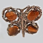Mexican Tigers Eye Brutalist Butterfly Sterling Silver Size 7 Ring  c1970's