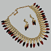 Coro Lucite Thermoset Necklace Earrings c1950's