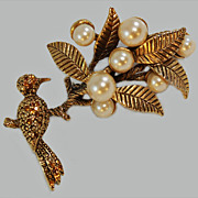 Oscar de la Renta Bird Perched Tree Brooch c1970's