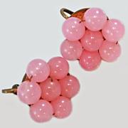 Pink Bead Screw Back Earrings c1930s