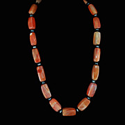 Graduated Sardonyx Onyx Agate Gemstone Necklace c1940