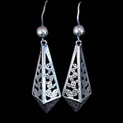 Mexican French Wire Signed Sterling Silver Earrings c1960s