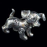 Heavy Sterling Silver Wagging  Puppy / Dog Pendant Brooch Pin c1940s