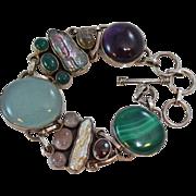 Chunky Pearls Moonstone Chalcedony Labradorite Amethyst Sterling Silver Bracelet c1980s