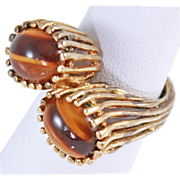 Benedetto Panetta Modernist Tigers Eye Vermeil Cocktail Ring Size 6.5 10 grams c1948