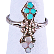 Native American Old Pawn Turquoise Mother of Pearl Sterling Silver Size 5.5 Ring 2 ...