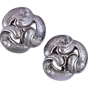 Retired Oscar de la Renta Pewter Knot Clip Earrings c1970s