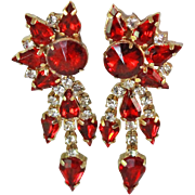 Juliana D & E Ruby Red Crystal Cascade Drop Earrings c1960s