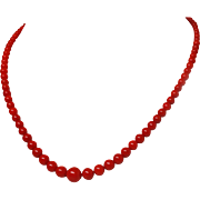 "Sardinian Oxblood Red Coral 9mm - 4mm Bead 19"" Necklace Vermeil Clasp c1940"