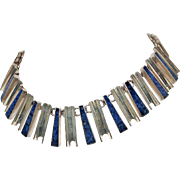 Mexican Inlaid Lapis Lazuli Sterling Silver Graduated 117g Necklace c1980s