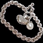 Signed Sterling Silver Peridot Charm Bracelet Heart Charm FW Pearl Charm c1988
