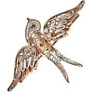 Victorian Cannetille Style Filigree 18K Gold 800 Silver Swallow Bird Brooch Pin c1880