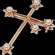 "Signed K. Mikimoto Tokyo 14K Gold ""Southern Cross"" Pearl Brooch / Pin c1930s"