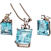 """Blue Topaz Sterling Silver Pendant Necklace Earrings 18"""" Box Chain c1970s"""