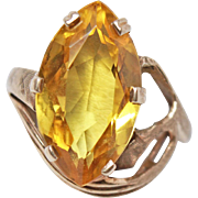 8+  Carat Yellow Sapphire 14K Gold Size 6 Ring c1950s