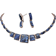 Suite Lapis Lazuli  950 Fine Sterling Silver Collar Necklace Post Earrings c1950s