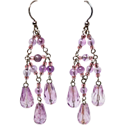 X Long Chandelier Amethyst Sterling Silver French Wire Earrings c1970s