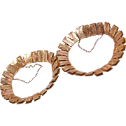 Pair Early Victorian Reversible 2 Design Rolled Gold Book Chain Bracelets w/Extra Links c1860s