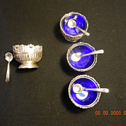 REDUCED SOLD 4 Silverplate and Cobalt Salt Cellars with Spoons