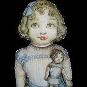 """1918 Saalfield Frances Brundage Cloth Lithograph Doll Set """"My Dolly Dear"""""""