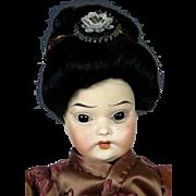Antique Oriental Bisque Head German Doll