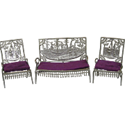 Antique 1893 Doll House Furniture ~ Settee Two Chairs Columbian Exposition Christopher Columbu