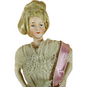 "7-1/2"" Dollhouse Antique German Bisque Lady  Doll A/O Netlace dress, wig, jointed ..."