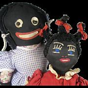 SOLD Two Black Golliwog Cloth Rag Dolls ~ Vintage, Googly Eye, Very Sweet! - Red Tag Sale Item