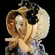 SOLD Grodnertal Antique Wood Peg Doll, Carved Side Spill Curls, Great Original Bonnet