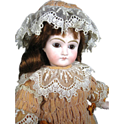 Antique German Sonneberg Belton Doll, CM, Closed Mouth, Original Composition/Wood Body