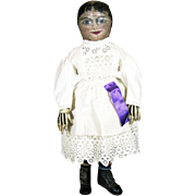 SOLD Early Oil Painted Folk Art Primitive Cloth Doll ~ Center Seam
