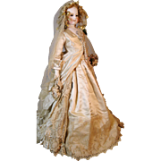 SALE PENDING Antique French Fashion Bisque Head Doll Bride, Large, Beautiful!