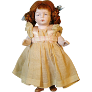 """SOLD Sweet 5"""" All Bisque German Doll in Wonderful Dress"""