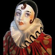 Antique Deco Porcelain Pierrot Pierrette Clown Half Doll ~ Fully Clothed, Rare Twine & Mache .