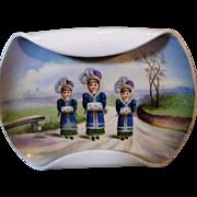 Rare Gebruder Heubach Hand Painted Plate with Children Girls Winter Muffs