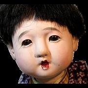 Adorable 1930's Japanese Gofun Ichimatsu Boy Baby Doll ~ Original Box
