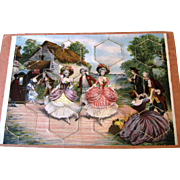 6 Antique French Puzzles ~ Children, Dolls,  Ladies, Dogs ~ Childs Question Answer Match Game
