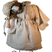 Original Antique Doll Dress Ensemble Incl. Wig, Bonnet, Dress, Slip and Pantaloon