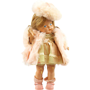 Vintage 1940 - 1943 Vogue Toddles Composition Doll, Toodles Pre-Ginny Doll with Tagged Pink ..