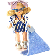 1950s Nancy Ann Storybook Doll Honey Blonde Muffie Wearing Hawaiian Beach Outfit #801 with Cat