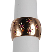 SALE Retro 14K Pink Gold Ruby Band