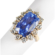 Amazing Ceylon No Heat Sapphire and Diamond Ring