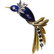 SALE Italian Enamel and 18kt Gold Bird Pin