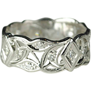 SALE Wide Art Deco Diamond Wedding Band
