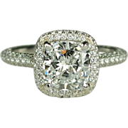 SALE GIA Certified Platinum Diamond Cushion Cut Engagement Ring