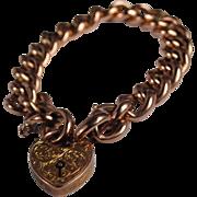 SALE English Victorian 9kt Gold Gate Bracelet w/ Engraved Heart Padlock