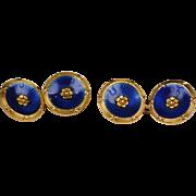 SALE Art Deco French, 18kt Enamel Cufflinks