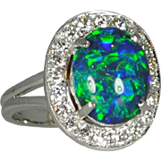SALE Vintage 14kt Black Opal & Diamond Ring