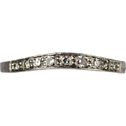 SALE Contoured Platinum and Diamond Wedding Band
