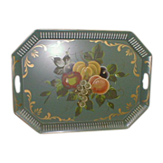 Painted Tole Tray with Fruit and Pierced Edge